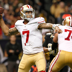 November 25, 2012; New Orleans, LA, USA; San Francisco 49ers quarterback Colin Kaepernick (7) passes against the New Orleans Saints during the second half of a game at the Mercedes-Benz Superdome. The 49ers defeated the Saints 31-21. Mandatory Credit: Derick E. Hingle-US PRESSWIRE