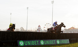 Adrien Du Pont, (right) ridden by Harry Cobden jumps the last on the way to winning The 32red.com Handicap Chase during day two of 32Red Winter Festival at Kempton Park Racecourse.