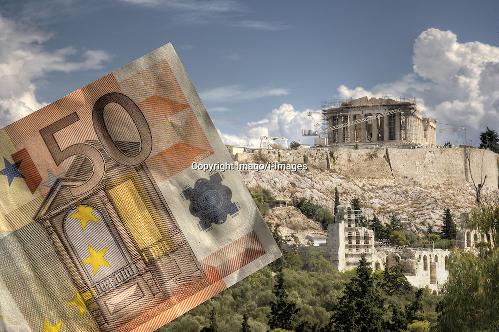 WARNING THIS IMAGE IS A Fotomontage: An Euro banknote with the Acropolis in the background. Athens. Photo by Imago/i-Images