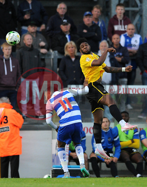 Ellis Harrison of Bristol Rovers challenges for the header with Jordan Obita of Reading - Mandatory by-line: Dougie Allward/JMP - 21/07/2015 - SPORT - FOOTBALL - Bristol,England - Memorial Stadium - Bristol Rovers v Reading - Pre-Season Friendly