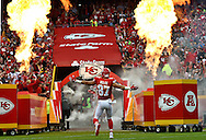 Tight end Travis Kelce #87 of the Kansas City Chiefs is introduced to the fans before the game against the New York Jets at Arrowhead Stadium on September 25, 2016 in Kansas City, Missouri.