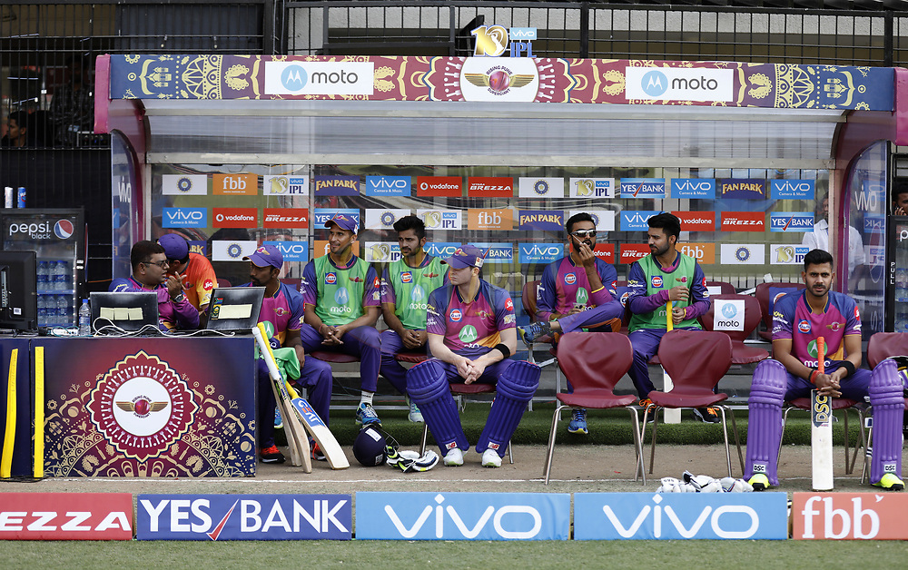 Pune Supergiant  players in dugout during match 4 of the Vivo 2017 Indian Premier League between the Kings X1 Punjab and the rising Pune Supergiant held at the Holkar Cricket Stadium in Indore, India on the 8th April 2017<br /> <br /> Photo by Arjun Singh - IPL - Sportzpics