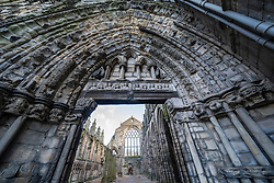 Detail of the ruined Abbey at  Palace of Holyrood in Edinburgh, Scotland, UK