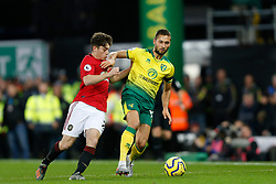 Moritz Leitner of Norwich City Daniel James of Manchester United battles for possession- Mandatory by-line: Phil Chaplin/JMP - 27/10/2019 - FOOTBALL - Carrow Road - Norwich, England - Norwich City v Manchester United - Premier League