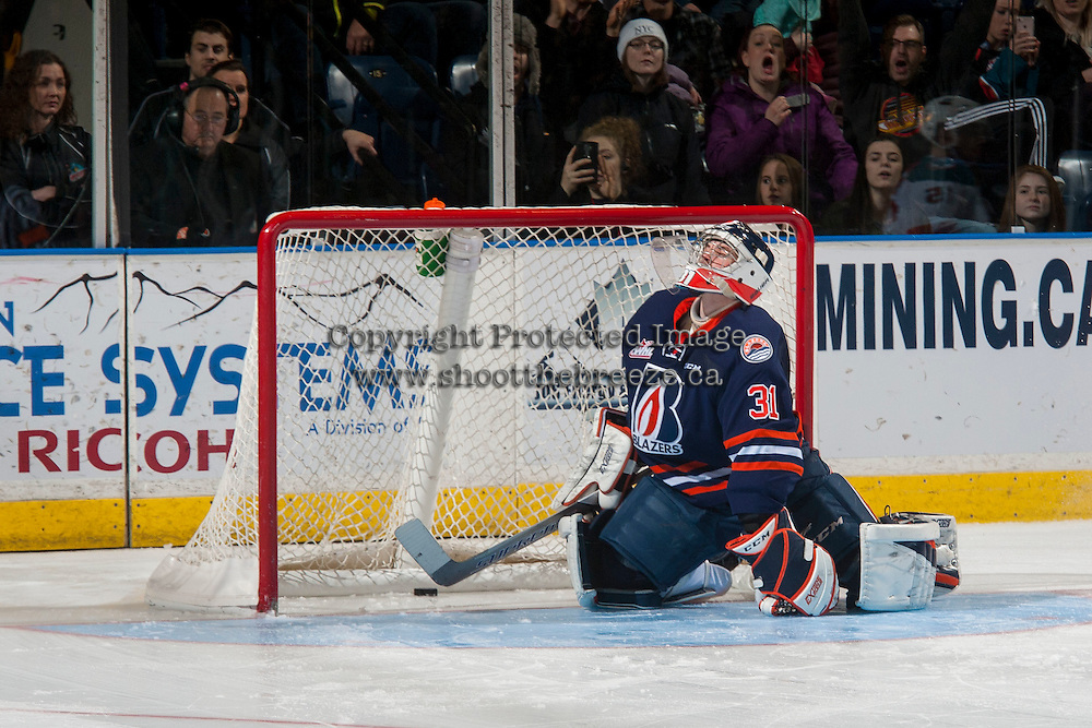KELOWNA, CANADA - JANUARY 7: Dylan Ferguson #31 of the Kamloops Blazers misses a shoot out save against the Kelowna Rockets on January 7, 2017 at Prospera Place in Kelowna, British Columbia, Canada.  (Photo by Marissa Baecker/Shoot the Breeze)  *** Local Caption ***
