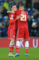Cardiff City's Joe Ralls celebrates his goal with Cardiff City's Craig Noone - Photo mandatory by-line: Dougie Allward/JMP - Mobile: 07966 386802 - 02/01/2015 - SPORT - football - Cardiff - Cardiff City Stadium - Cardiff City v Colchester United - FA Cup - Third Round