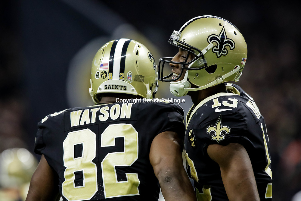 Nov 4, 2018; New Orleans, LA, USA; New Orleans Saints wide receiver Michael Thomas (13) and tight end Benjamin Watson (82) celebrate after a touchdown against the Los Angeles Rams during the first half at the Mercedes-Benz Superdome. Mandatory Credit: Derick E. Hingle-USA TODAY Sports