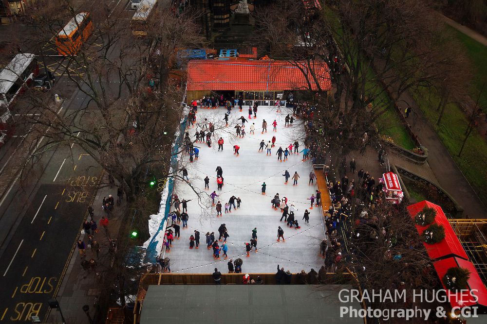 Edinburgh Winter Festival Market Ice Skating Rink And Skaters. Seen From Above.