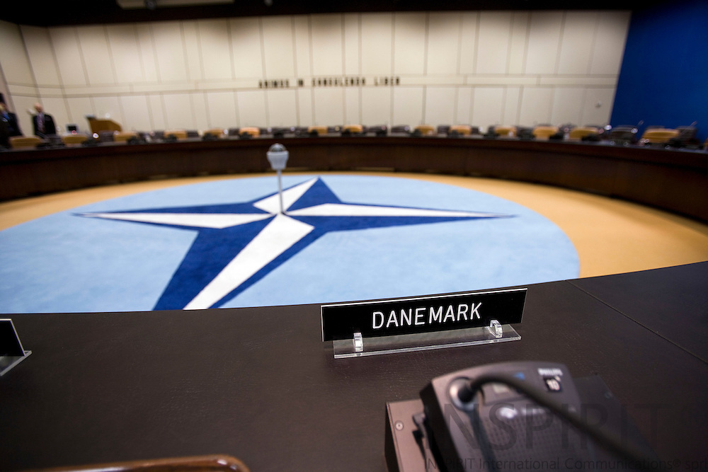 BRUSSELS - BELGIUM - 06 MARCH 2009 --  The NATO Headquarters North Atlantic Treaty Organisation meeting room seen from the seat where the Danish Representative is sitting during ministerial meetings.  Photo: Erik Luntang