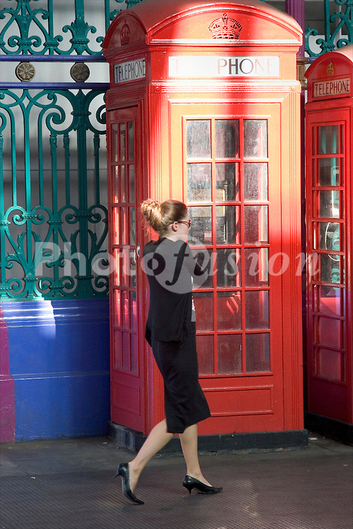 Red BT telephone box; Smithfield; London UK