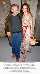 Photographer DAVID BAILEY and his wife CATHERINE at a party in London on 15th April 2003. 	PIX 408