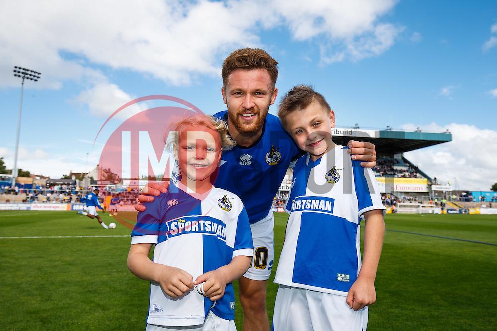 Mascots with Matt Taylor of Bristol Rovers - Mandatory byline: Rogan Thomson/JMP - 07966 386802 - 12/09/2015 - FOOTBALL - Memorial Stadium - Bristol, England - Bristol Rovers v Accrington Stanley - Sky Bet League 2.