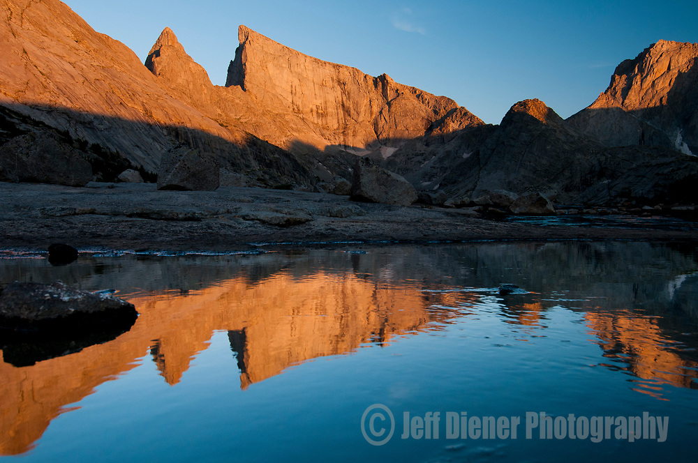 East Temple Peak is reflected in Deep Lake, Wind River Mountains, Wyoming.