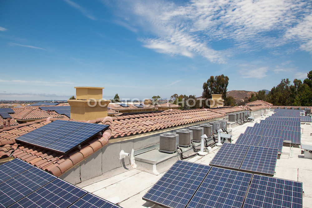 Solar Panels on Home Roof Tops and Hillside