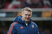Brentford manager Dean Smith looking pensive during the Sky Bet Championship match between Brentford and Huddersfield Town at Griffin Park, London, England on 19 December 2015. Photo by Matthew Redman.