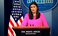 PRESS SECRETARY SARAH SANDERS in the White House Press Briefing room on July 31, 2017<br />