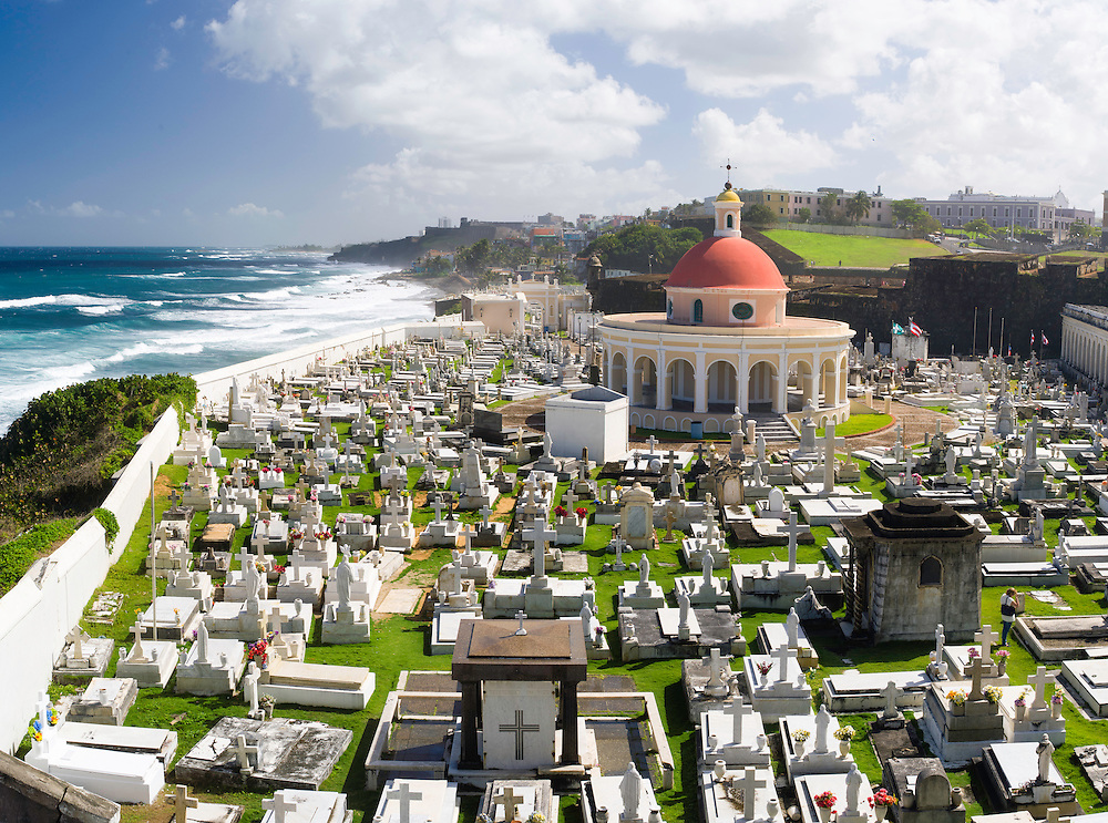View of Cemeterio Santa Maria Magdalena de Pazzis from Bastion de Santa Rosa and looking towards the north side of Old San Juan/Viejo San Juan
