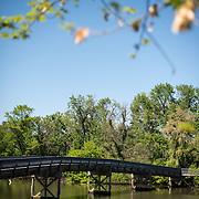 A pedestrian bridge across the river at the Lyndon Baines Johnson Memorial Grove. The memorial is set in Lady Bird Johnson Park on the banks of the Potomac on the George Washington Memorial Parkway in Arlington, Virginia.