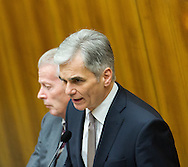 Vice Chancellor of Austria and Minister of Science and Economy Reinhold Mitterlehner (right) and Federal Chancellor of Austria Werner Faymann during a presentation of the new foreign minister and tightening of asylum law at Austrian Parliament Building, Innere Stadt<br /> Picture by EXPA Pictures/Focus Images Ltd 07814482222<br /> 27/04/2016<br /> ***UK &amp; IRELAND ONLY***