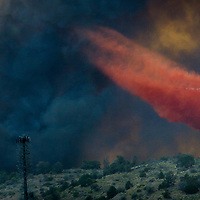A forest fire burns in the Holcomb Valley are in the San Bernardino National Forest near Big Bear, Monday, June 19, 2017. (EricReed/For The Sun/SCNG)