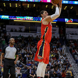 Apr 4, 2018; New Orleans, LA, USA; New Orleans Pelicans forward Nikola Mirotic (3) shoots against the Memphis Grizzlies during the second half at the Smoothie King Center. The Pelicans defeated the Grizzlies 123-95. Mandatory Credit: Derick E. Hingle-USA TODAY Sports