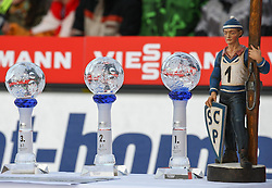 01.01.2013, Olympiaschanze, Garmisch Partenkirchen, GER, FIS Ski Sprung Weltcup, 61. Vierschanzentournee, Podium, im Bild die Pokale für die Top 3 des Tages // The cups for the top 3 of the day during podium Jump of 61th Four Hills Tournament of FIS Ski Jumping World Cup at the Olympiaschanze, Garmisch Partenkirchen, Germany on 2012/12/31. EXPA Pictures © 2012, PhotoCredit: EXPA/ Sven Kiesewetter
