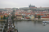The Karluv, Charles medieval Bridge, River Vltava, Prague, Czech Republic<br />