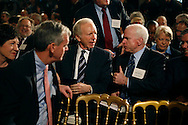 Senators John McCain,Joe Lieberman and Judd Gregg talk at a White House summit on the economy in theEast Room of theWhite House on February 23,2009  Photo by Dennis Brack