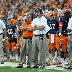 Syracuse Orange head coach DOUG MARONE watches the game from the sideline in the fourth quarter as the Orange offense is battling the Stony Brook Seawolves defense at the Carrier Dome in Syracuse, New York. Syracuse defeated Stony Brook 28-17.