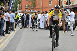 © Licensed to London News Pictures. 14/07/2017. London, UK. Muslim cyclists set off from the East London Mosque in Whitechapel on the 'Hajj Ride', the first ever charity cycle ride from London to Medina in Saudi Arabia.  The 3,500km, 6 week ride will pass through 8 countries raising funds for medical aid in Syria.  Intended to champion cycling in Muslim society, the ride also aims to satisfy one of the five pillars of Islam, being the Hajj pilgrimage to Mecca.  Photo credit : Stephen Chung/LNP