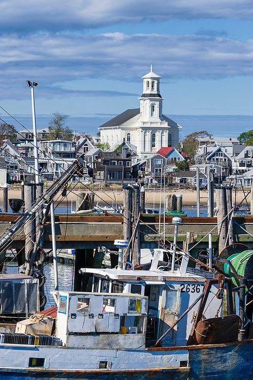 Small boats docked in Provincetown harbor, McMillan Wharf, Provincetown, Cape Cod, Massachusetts, USA.