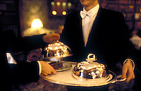 serving lamb at the restaurant Alain Ducasse, Paris