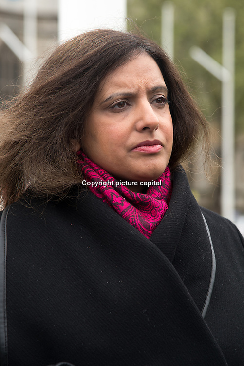 Sabby Dhalu of Stand Up To Racism addresses supporter Justice For Windrush - Scrap May's Racist Act Hosted by Stand Up To Racism during the debate in the Parliament on 30 April 2018 at Parliament Square, London, UK.