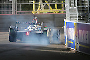 Venturi driver locking up during Round 9 of Formula E, Battersea Park, London, United Kingdom on 2 July 2016. Photo by Matthew Redman.
