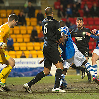 St Johnstone v Celtic.....19.02.13      SPL<br /> Kelvin Wilson gets a grip on Gregory Tade in the box but ref Euan Norris waved away the penalty claim<br /> Picture by Graeme Hart.<br /> Copyright Perthshire Picture Agency<br /> Tel: 01738 623350  Mobile: 07990 594431