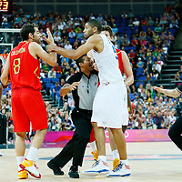 08 August 2012: Spain Jose Calderon and Marc Gasol argue with France Nicolas Batum during 66-59 Team Spain victory over Team France, during the men's basketball quarter-finals, at the 02 Arena, in London, Great Britain.