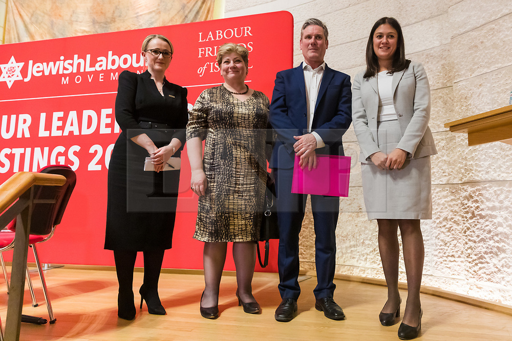 © Licensed to London News Pictures. 13/02/2020. London, UK. Labour leadership candidates: (L-R) Rebecca Long-Bailey, Emily Thornberry, Keir Starmer, Lisa Nandy at the Jewish Labour Movement (JLM) Labour Party leadership hustings held at the Liberal Jewish Synagogue in St John's Wood. The JLM will announce its leadership nomination on Friday February 14th. Photo credit: Vickie Flores/LNP