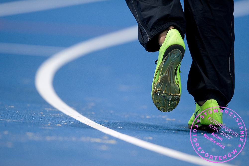 Nike athletic's shoes on the track during the IAAF Athletics World Indoor Championships 2014 at Ergo Arena Hall in Sopot, Poland.<br /> <br /> Poland, Sopot, March 7, 2014.<br /> <br /> Picture also available in RAW (NEF) or TIFF format on special request.<br /> <br /> For editorial use only. Any commercial or promotional use requires permission.<br /> <br /> Mandatory credit:<br /> Photo by &copy; Adam Nurkiewicz / Mediasport
