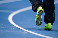 Nike athletic's shoes on the track during the IAAF Athletics World Indoor Championships 2014 at Ergo Arena Hall in Sopot, Poland.<br /> <br /> Poland, Sopot, March 7, 2014.<br /> <br /> Picture also available in RAW (NEF) or TIFF format on special request.<br /> <br /> For editorial use only. Any commercial or promotional use requires permission.<br /> <br /> Mandatory credit:<br /> Photo by © Adam Nurkiewicz / Mediasport