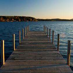 View of Lake Winnipesauke from town docks in Wolfeboro, New Hampshire.