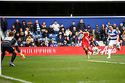 Charlton Athletic Callum Harriott (11) has a shot on goal during the Sky Bet Championship match between Queens Park Rangers and Charlton Athletic at the Loftus Road Stadium, London, England on 9 April 2016. Photo by Andy Walter.