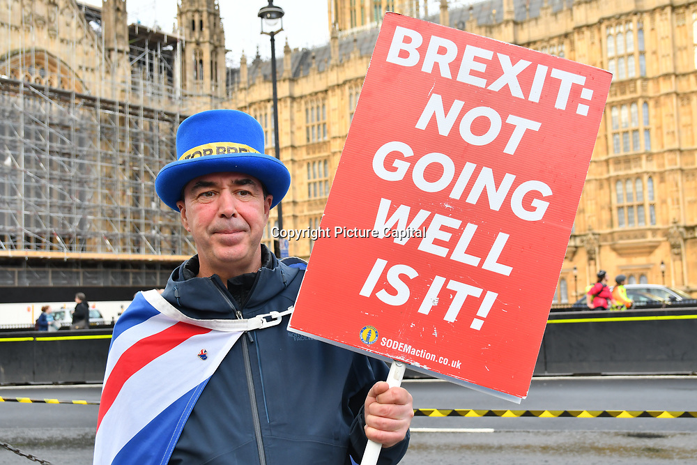 A die-hard anti-Brexit continues protest at Parliament Yard on 8 May 2019, London, UK