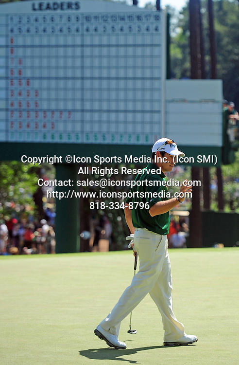 April 8, 2012 - Augusta, Georgia, U.S. - Louis Oosthuizen acknowledges the gallery on no.3 during Sunday's final round of the 2012 Masters Tournament at Augusta National Golf Club on April 8, 2012, in Augusta, Ga.
