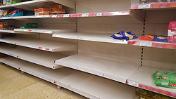 © Licensed to London News Pictures. 12/03/2020. London, UK. Sainsbury's store in London runs out of rice amid an increased number of cases of Coronavirus (COVID-19) in the UK. 590 cases have been tested positive and ten patients have died from the virus in the UK. Photo credit: Dinendra Haria/LNP