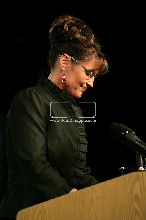 13th September 2008, Anchorage, Alaska.  Alaskan Governor, Sarah Palin speaks at a Republican rally. Palin is the US Republican Vice Presidential pick. PHOTO © JOHN CHAPPLE / REBEL IMAGES.tel: +1-310-570-910