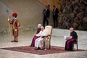 Pope Francis arrives for his weekly general audience at the Paul VI audience hall on December 27, 2017 at the Vatican.