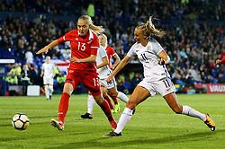 Toni Duggan of England fires a shot at goal  under pressure from Anna Belomyttseva of Russia - Mandatory by-line: Matt McNulty/JMP - 19/09/2017 - FOOTBALL - Prenton Park - Birkenhead, United Kingdom - England v Russia - FIFA Women's World Cup Qualifier