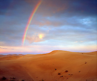 When the amazing happens, I grab my camera and take photos like this rainbow over sand dune image.  The juxtaposition of the colorful rainbow and barren desert makes a great shot.