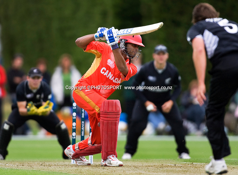 Canada's opening batsmen Ruvindu Gunasekera hits a powerful drive during his innings of 20. New Zealand v Canada, U19 Cricket World Cup group stage match, Lincoln #3, Saturday 16 January 2010. Photo : Joseph Johnson/PHOTOSPORT