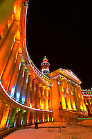 The City and County Building, Denver Civic Center, decorated for the holidays, Downtown Denver, Colorado USA